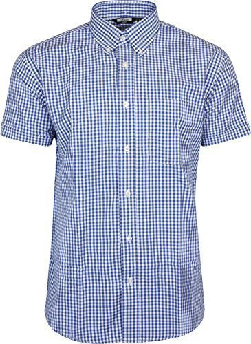 Men's Relco Blue White Classic Gingham Shortsleeve Button Down Polycotton Shirt