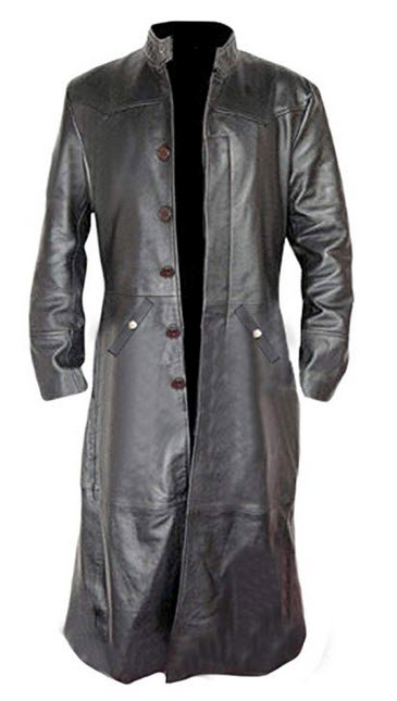 Black Korel Sexy Real Black Cow Leather Coat Long Matrix Goth Trench Coat Gothic