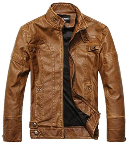 Vionr Men's Vintage Stand Collar Faux Leather Jacket