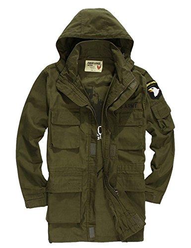 Menschwear Men's Windbreaker Jacket Military Hooded Trench Coat