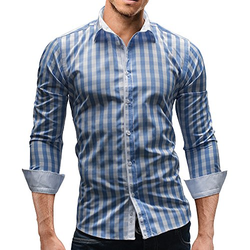 MERISH Dress Shirt Long Sleeve Slim Fit checkered Modell 144
