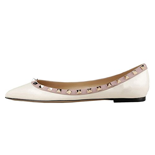 MERUMOTE Women's Flats With Double Buckles Fashion Sexy Rivets