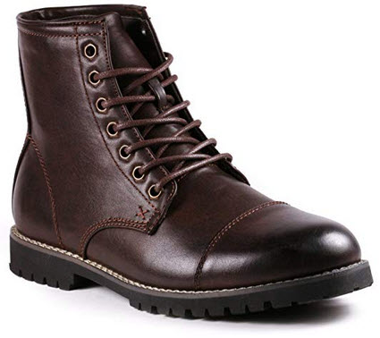 Metrocharm MC301 Men's Lace Up Cap Toe Formal Dress Casual Fashion Boots brown