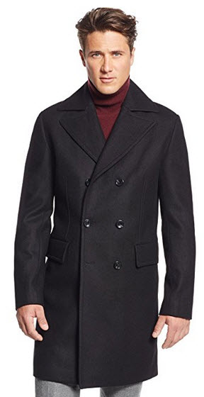 Michael Kors Black Solid Double Breasted Three Button New Men's Topcoat .