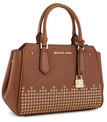 Michael Kors Hayes MD medium messenger bag satchel purse crossbody luggage brown
