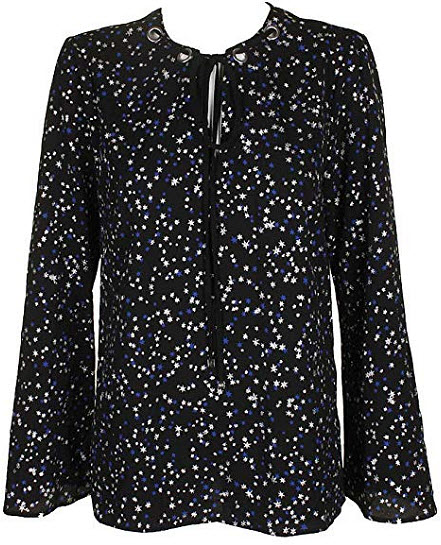 Michael Kors Star-Print Top, royal silver