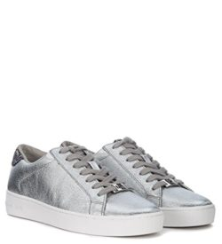 Michael Kors Women's Irving Silver Leather and Glitter Sneaker