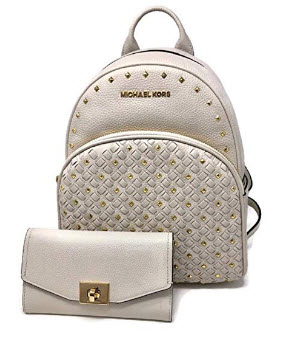MICHAEL Michael Kors Abbey Studded MD Backpack bundled with Michael Kors Cassie LG Trifold Turnk ...