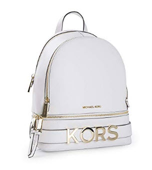 MICHAEL Michael Kors Rhea Medium Embellished Leather Backpack, Optic White