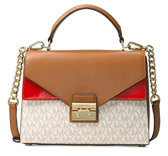 MICHAEL Michael Kors Sloan Medium Top-Handle Logo Leather Satchel, Vanilla Acorn Bright Red