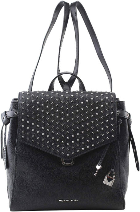 MICHAEL Michael Kors Women's Bristol Leather Studded Medium Backpack in Black