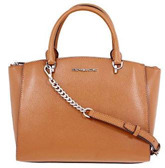 MICHAEL Michael Kors Women's ELLIS LARGE Satchel Leather Handbag, luggage