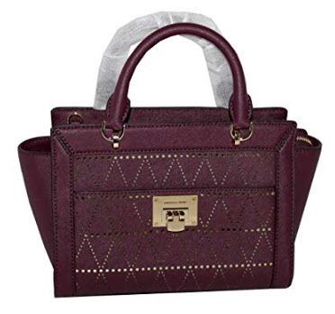 MICHAEL Michael Kors Women's TINA Small Top Zip Messenger leather shoulder Handbag (Plum)