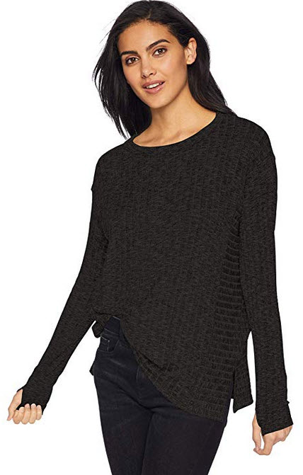 Michael Stars Women's Jasper Poorboy Long Sleeve Scoop Neck Pullover black