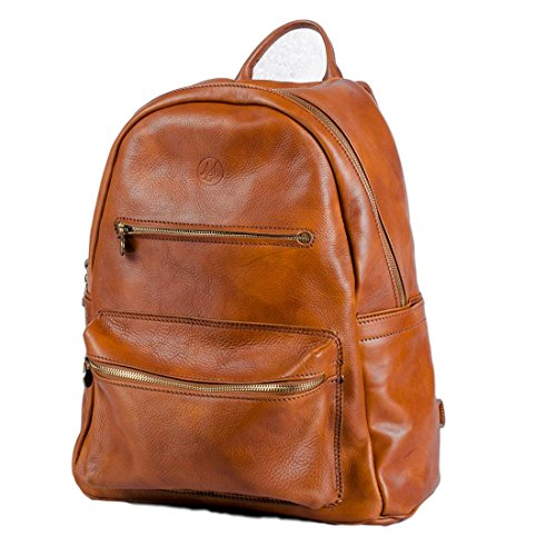 Michelangelo Genuine Leather Calf-Skin Italy – Backpack Travel Leather 33×23 H40 cm