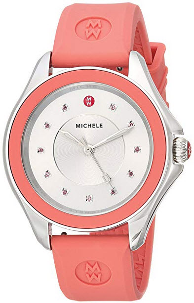 MICHELE Women's 'Cape' Quartz Stainless Steel and Silicone Dress Watch, Color:Pink