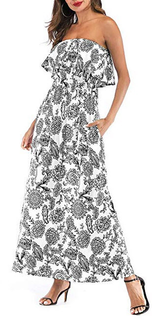 MIDOSOO Womens Ruffled Printed Floral Long Strapless Summer Dresses with Pockets black