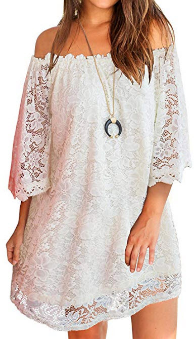 MIHOLL Womens Off Shoulder Lace Shift Loose Mini Dress white