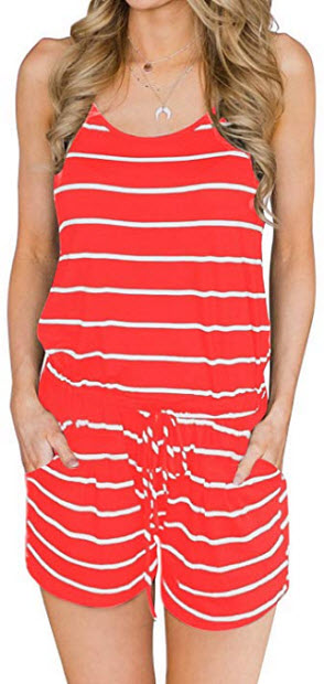 MIHOLL Women's Summer Striped Jumpsuit Casual Loose Sleeveless Jumpsuit Romper, coral