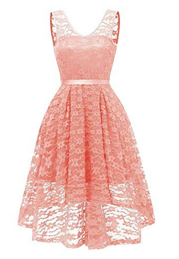 MILANO BRIDE Women's Vintage Floral Lace V-Neck Homecoming Cocktail Party Dress, pink b