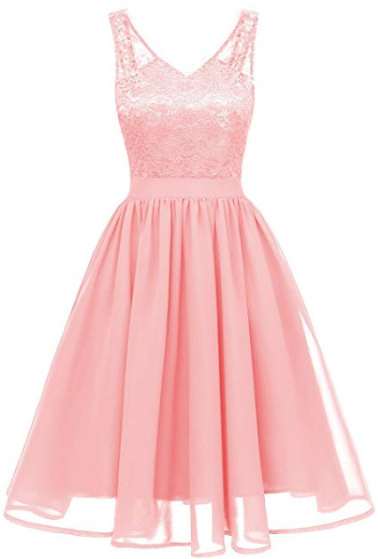 MILANO BRIDE Women's Vintage Floral Lace V-Neck Homecoming Cocktail Party Dress, blush