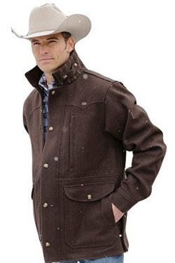 Miller Ranch Western Coat Mens Melton Wool Zip Chocolate DWJ2122402 .