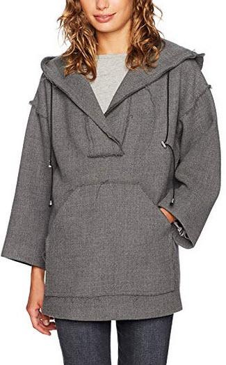 MILLY Women's Hoodie Coat charcoal