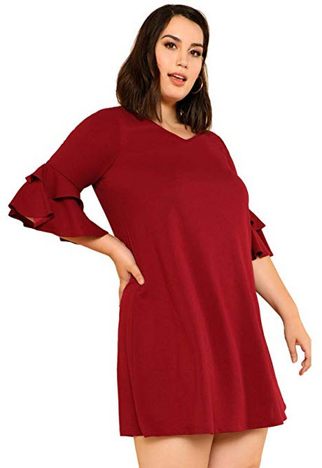 Milumia Women Plus Size Flared 3 4 Flared Ruffle Sleeves Fit Flare A Line Tunic Bodycon Dress Ca ...