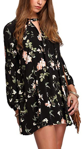 Milumia Women's Boho Floral Print Long Sleeve Loose Short Mini Tunic Dress