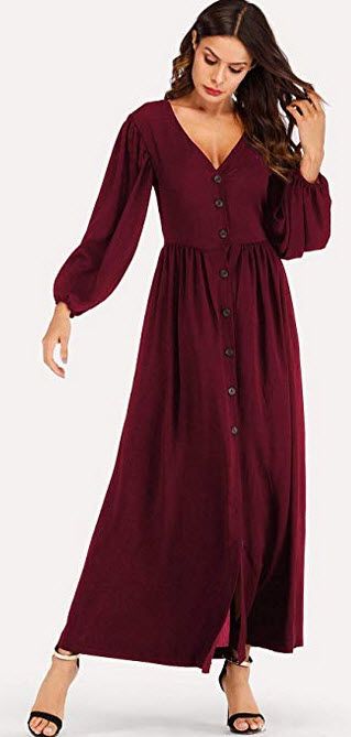 Milumia Women's Button up Party Long Sleeve V Neck Flowy Solid Maxi Dress a-burgundy