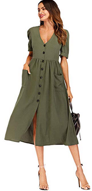Milumia Women's Button up V Neck Short Sleeeve Long Dress with Pockets army green