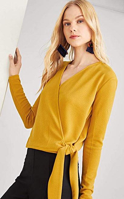 Milumia Women's Casual Long Sleeve V Neck Shirt Wrap Knot Blouse Top yellow