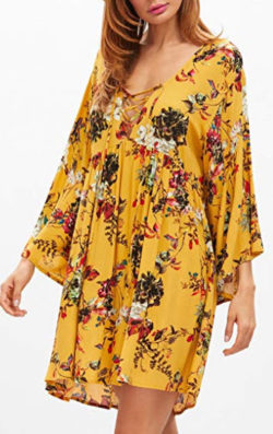 Milumia Women's Floral Print Front Cross Deep V-Neck Flare Sleeve Loose Short Mini Dress