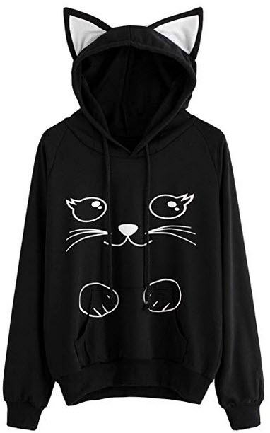 Milumia Women's Long Sleeve Kangaroo Pockets Letter Print Cute Cat Ear Pullover Hoodie black