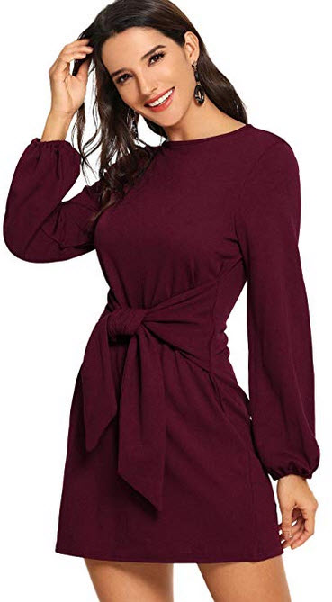 Milumia Women's Party Cocktail Long Sleeve Boat Neck Waist Knot Solid Dress m burgundy