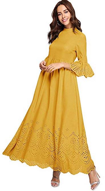 Milumia Womens Scalloped Laser Cut Flounce Sleeve Hem Self Belted Maxi Dress yellow