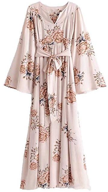 Milumia Women's Self Tie Floral Kimono Maxi Dress V Neck High Waist Pleated Summer Dress
