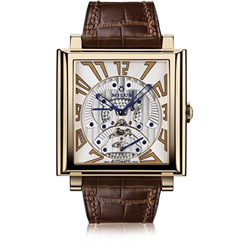 Milus Men's Herios TriRetrograde 42mm Brown Leather Band Rose Gold Case Automatic Analog W ...