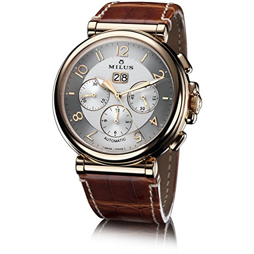 Milus Men's Zetios 45mm Brown Leather Band Rose Gold Case Automatic Silver-Tone Dial Analo ...