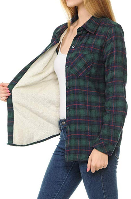 MINEFREE Womens Button Down Long Sleeve Sherpa Fur Lined Plaid Flannel Shirt Color: Mja003_navygreen