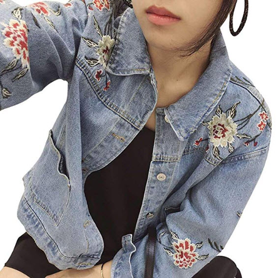 Minetom Women's Loose Fit Long Sleeve Floral Embroidered Button Closed Denim Boyfriend Jea ...