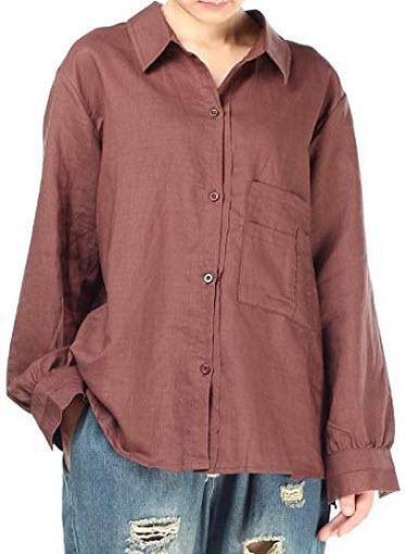 Minibee Women's Casual Cotton Linen Blouse High Low Shirt Long Sleeve Tops, coffee