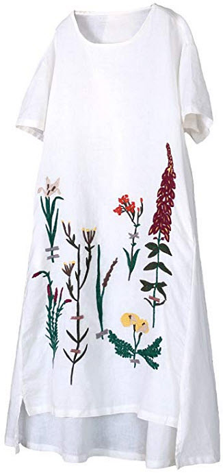 Minibee Women's Embroidered Linen Dress Summer A-Line Sundress Hi Low Tunic Clothing, white