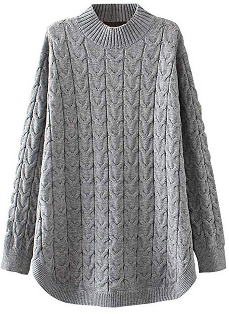 Minibee Womens Long Sleeve Sweater Mock Turtleneck Pullover Tops Ribbed Cable Knit Jumper gray