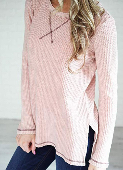Minthunter Women's Long Sleeve Shirt Crew Neck Knit Thermal Top Cute Tunic blush