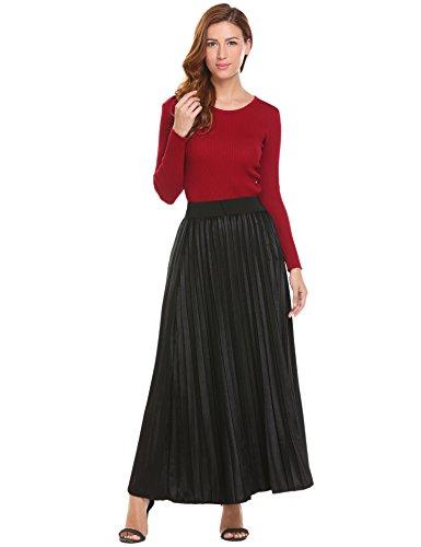 Misakia Women Long Velvet Skirt A Line Vintage High Elastic Waist Skirt