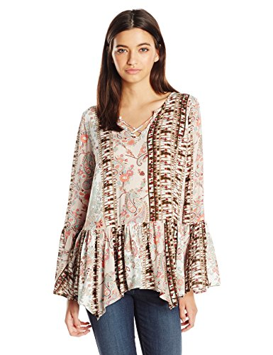 Miss Chievous Juniors Printed Peasant Woven Top