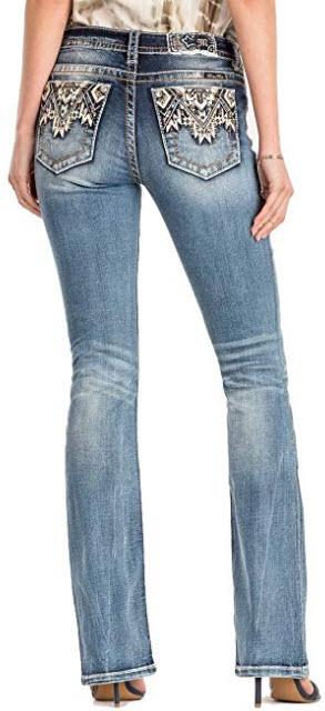 Miss Me Come Together Aztec Medium Wash Mid Rise Boot Cut Jeans M3178B, denim