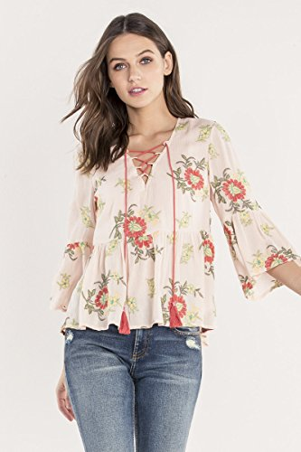Miss Me Floral Island Fever Peasant Top Women's Light Pink