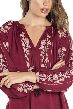 Miss Me MMYT39 Red Wine Embroidered Peasant Top